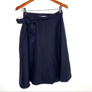 Ann Taylor navy blue linen blend skirt with belt